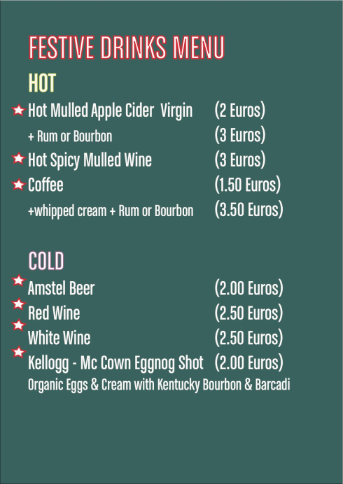Festive Drinks Menu
